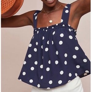 Anthropologie Maeve Dotted Cross Back Blouse